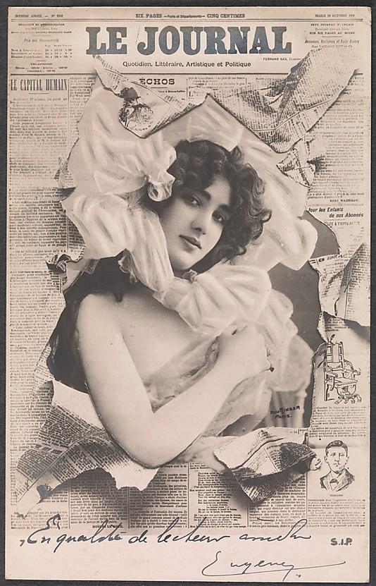 Manipulacja - fotomontaż z 1910 roku: Woman Bursting Through Le Journal Newspaper