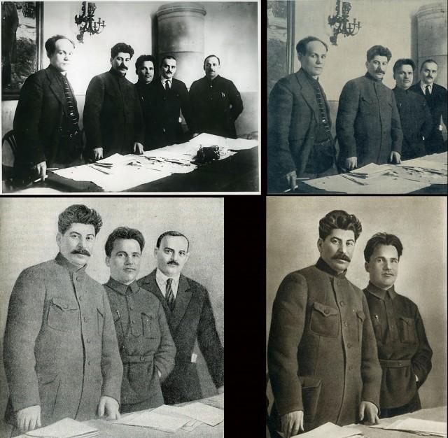 Chronologia popadania w niełaskę towarzyszy, od lewej na pierwszym zdjęciu: Nikolai Antipov, Stalin, Sergei Kirov, Nikolai Shvernik, Nicolay Komarov na konferencji w Leningradzie. Pierwsze zdjęcie rok: 1926, kolejne: 1936, 1948, 1949