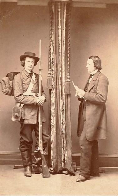 Podwójny autoportret - jako wojskowego i jako cywila, A. M. Allen, datowany na 1865-70