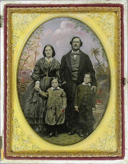 Portret rodzinny, ambrotyp koloryzowany, autor Robert H. Vance, datowany na 1855