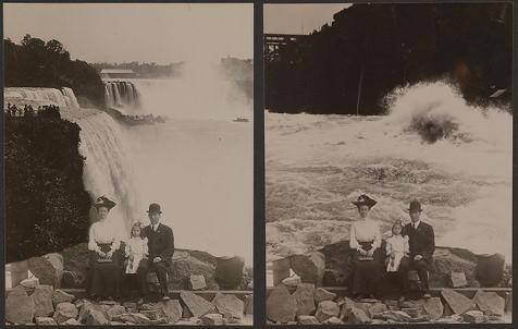 To samo ujęcie rodziny w różnych miejscach przy wodospadzie Niagara, 1905