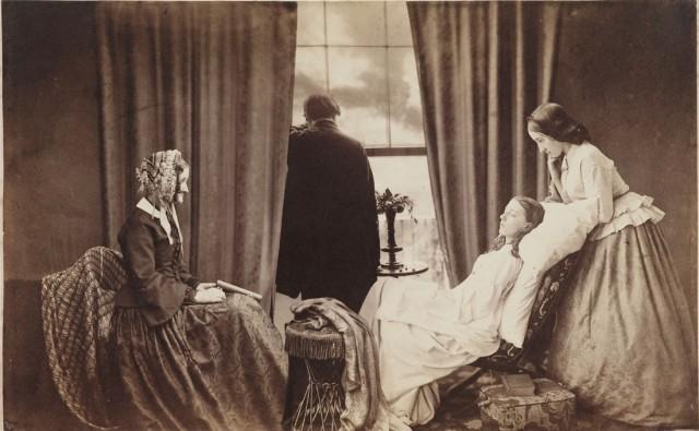 """Henry Peach Robinson, """"Fading Away"""", datowany na 1858 rok złożony z 5 negatywów"""