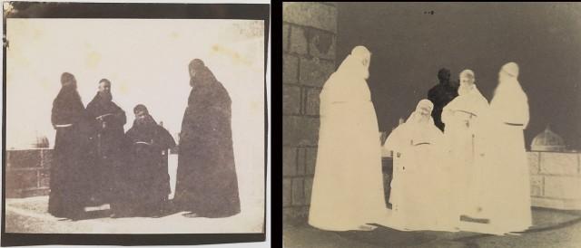 Kapucyni z Malty, odbitka i negatyw ujawniający manipulację, datowane na 1846