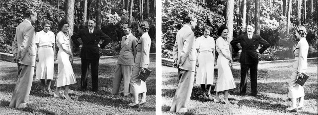 Goebbels znika ze wspólnej fotografii z Hitlerem?, dlaczego?, - wszak to przyjaciel do końca... być może powodem była zazdrość Hitlera - obok Goebbelsa stoi Leni  Riefenstal, aktorka, później filmowiec, z którą Hitler w tamtym czasie był związany