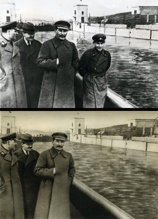 """Wizytacja kanału w Moskwie rok 1937 i 1940 - morderca o twarzy i ciele dziecka """"krwawy karzeł"""", Jeżow, zniknął z fotografii wkrótce po wykonaniu na nim egzekucji"""